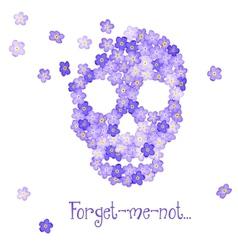 Floral Human skull vector image vector image