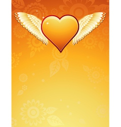 golden heart with wings on golden background vector image