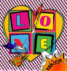 Love Pop art Card with comic book style vector image vector image