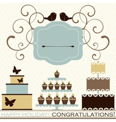 set of celebration or holiday icons vector image
