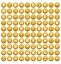 100 book icons set gold vector