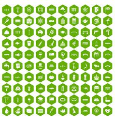 100 bridge icons hexagon green vector
