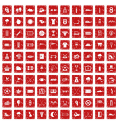 100 golf icons set grunge red vector