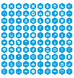 100 kids icons set blue vector image