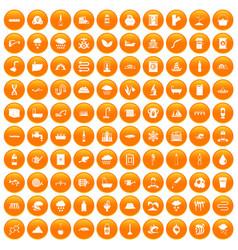 100 water supply icons set orange vector