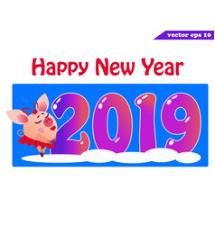 2019 banner with piggy girlon blue vector image