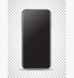3d black smartphone with empty screen layered vector image