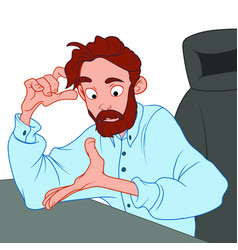 A bearded man in a blue shirt sits in a chair and vector