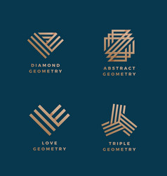 Abstract geometry minimal signs set golden vector