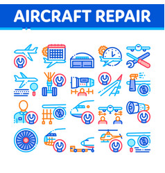 Aircraft repair tool collection icons set vector