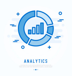 analytics thin line icon chart in circle vector image