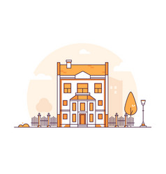 apartment house - modern thin line design style vector image