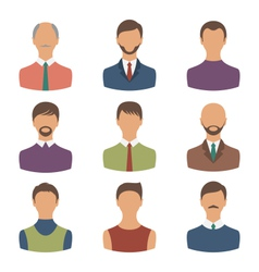Avatars set front portrait of males isolated on vector