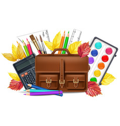 Back to school with bag pencils and other drawing vector