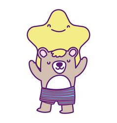 Bashower cute bear and star cartoon vector