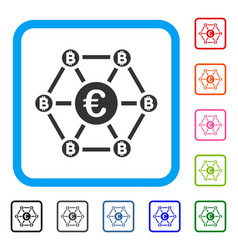 bitcoin euro net structure framed icon vector image