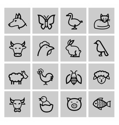 Black agriculture and farming icons set vector