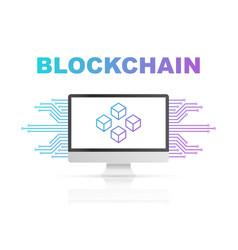 blockchain icon on computer screen vector image