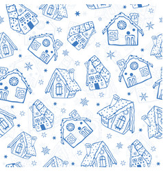 Blue gingerbread houses seamless pattern vector