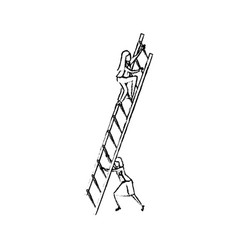 business women climbing wooden stairs silhouette vector image