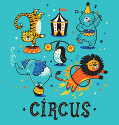 cartoon circus animals vector image