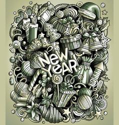 Cartoon doodles new year vector