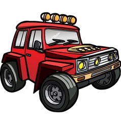 Cartoon red jeep Isolated vector