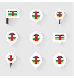 Central african republic flag and pins for vector