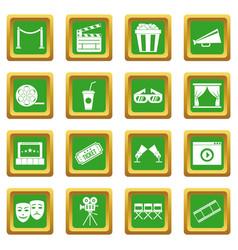 cinema icons set green vector image