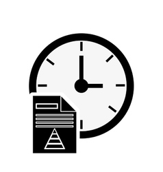 clock and graph chart icon vector image