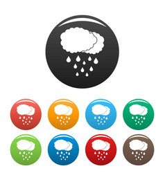 Cloud rain icons set color vector