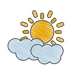 Color crayon stripe cartoon sun and cloud weather vector