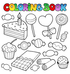Coloring book candy and cakes vector