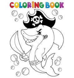 Coloring book pirate shark topic 1 vector