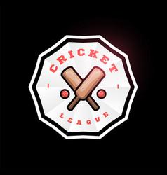 cricket circle logo with cross bat modern vector image