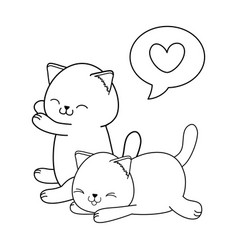 cute little cats with heart kawaii characters vector image