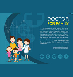 doctor woman and family background poster vector image