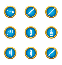 Electric cigarette icons set flat style vector