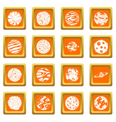 Fantastic planets icons set orange vector