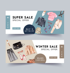 Fashion banner design with outfit camera case vector
