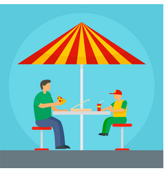 father and son eat pizza background flat style vector image