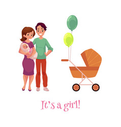 flat adult couple infant baby stroller vector image