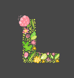 floral summer letter l flower capital wedding vector image