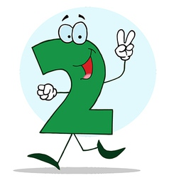 Funny Cartoon Friendly Number 2 Two Guy vector image