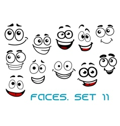 Funny happy faces cartoon characters vector