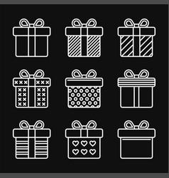 gift box icons set on black background line style vector image