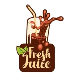 Glass of fresh juice vector