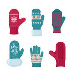gloves winter set fashion accessory for cold vector image