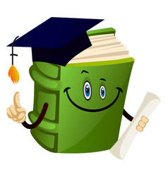 Green book graduating on white background vector