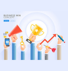 group business hands holding a trophy vector image